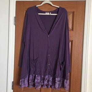 LOGO Lori Goldstein long purple cardigan tunic